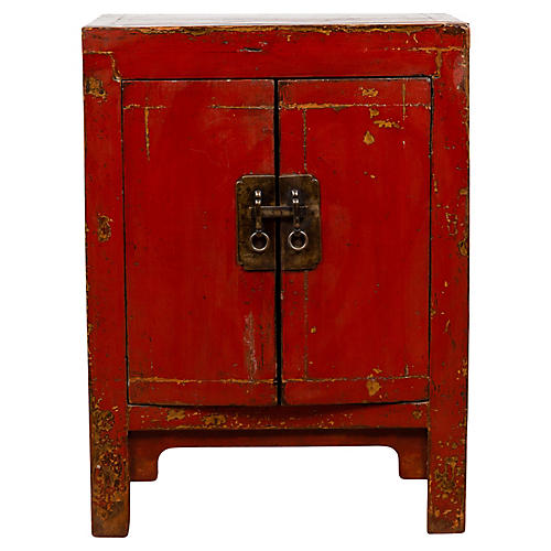 Red Lacquered Qing Dynasty Style Cabinet