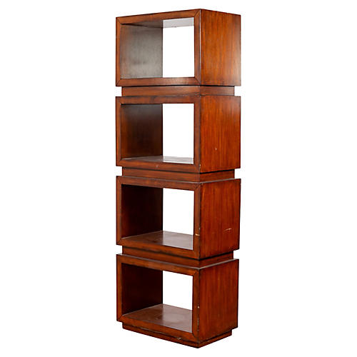 Chinese Square Shelved Wooden Bookcase