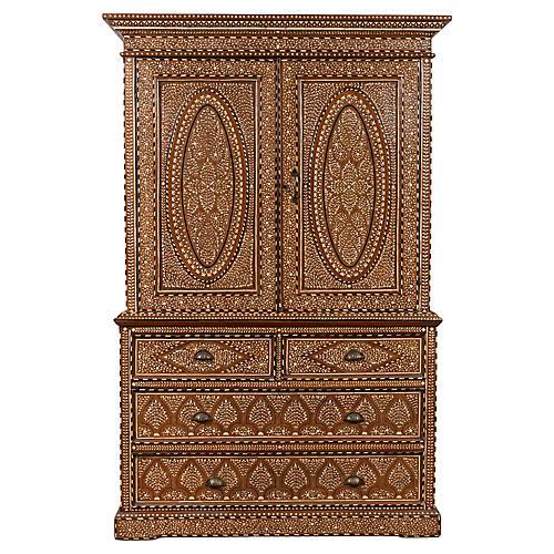 Indian Sheesham & Bone Inlaid Cabinet