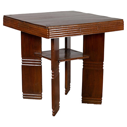 Chinese Art Deco Ribbed Game Table