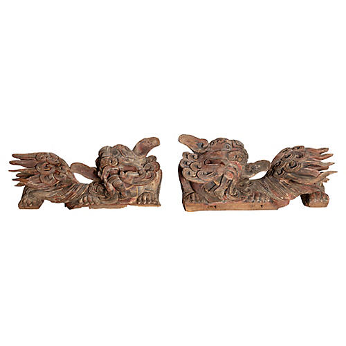 Pair of Chinese Temple Guardian Lions