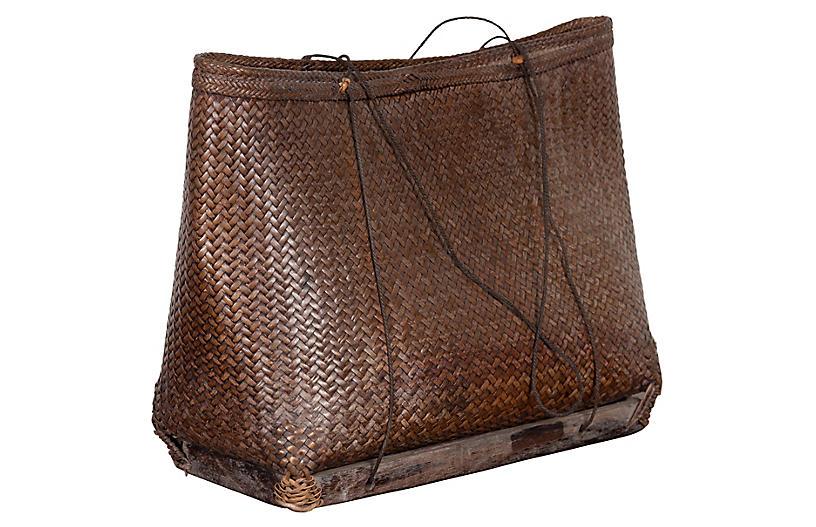 Antique Small Woven Grain Basket