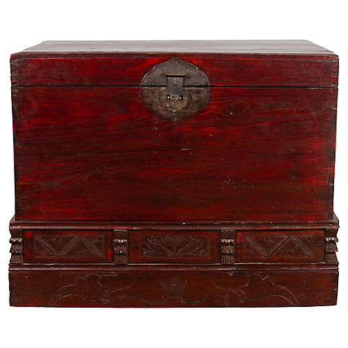 Chinese Antique Red Lacquered Trunk