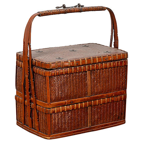 Chinese Tiered Rattan Picnic Basket