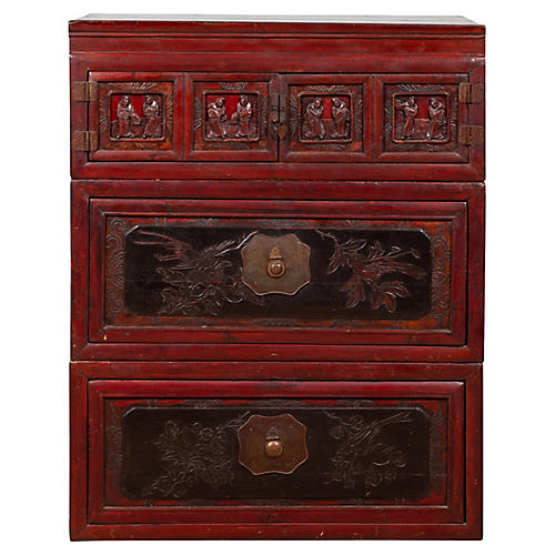 Chinese Red and Black Lacquered Chest