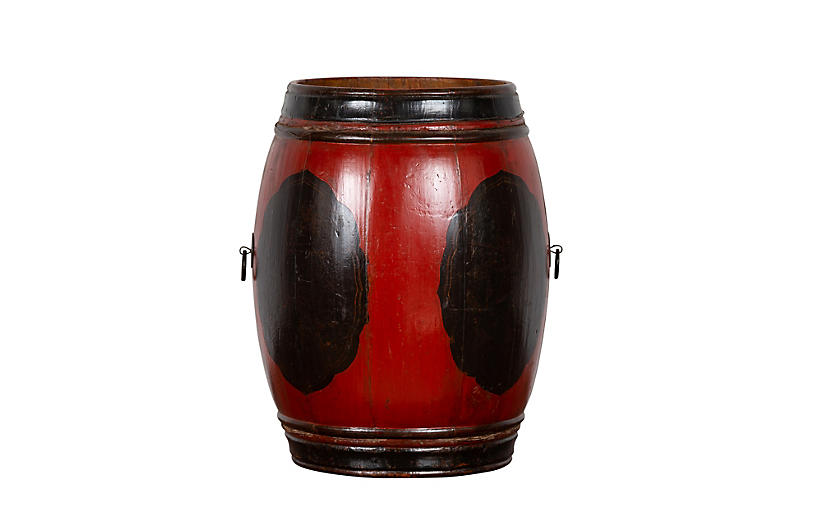 Chinese Lacquered Wood Barrel Planter