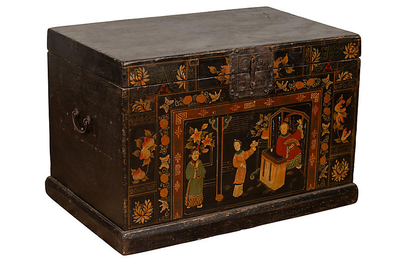 Chinoiserie Black Lacquered Trunk