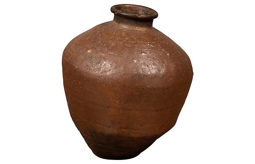 Antique Japanese Brown Oil Jar