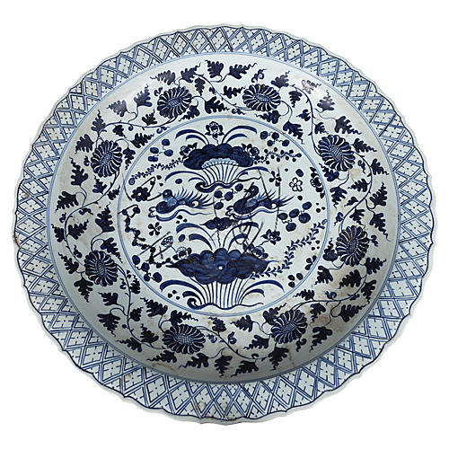 Chinese Vintage Blue and White Charger