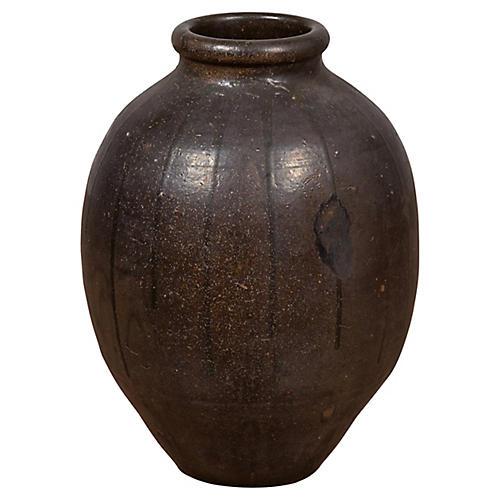 Japanese Ceramic Dark Brown Patina Vase