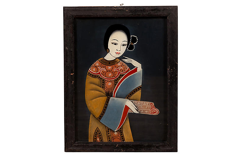 Antique Japanese Woman Painting on Glass