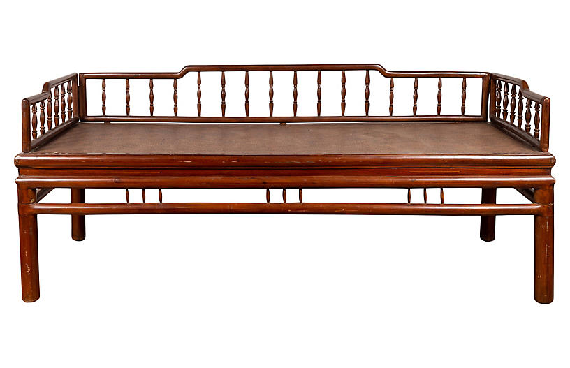 Chinese Antique Wood and Rattan Daybed