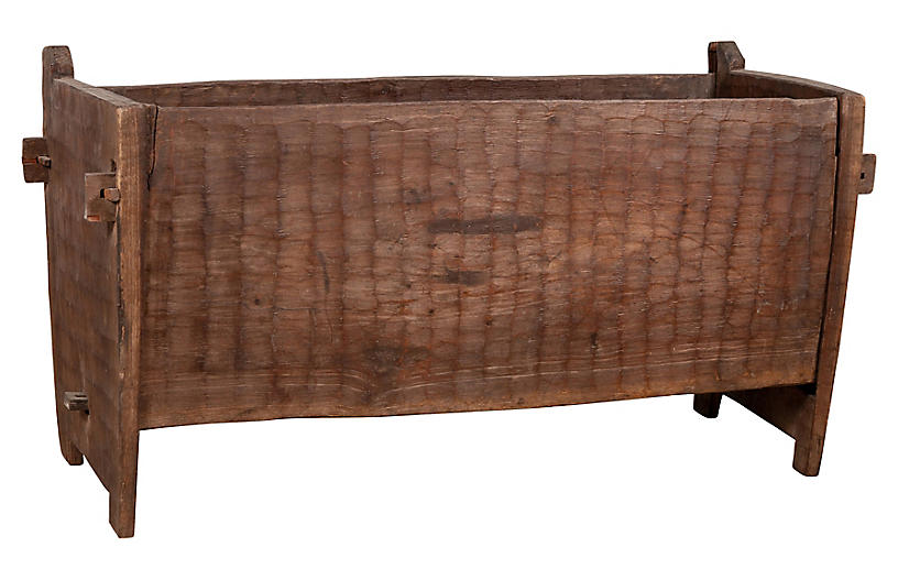 Antique Indian Rustic Wooden Planter Box