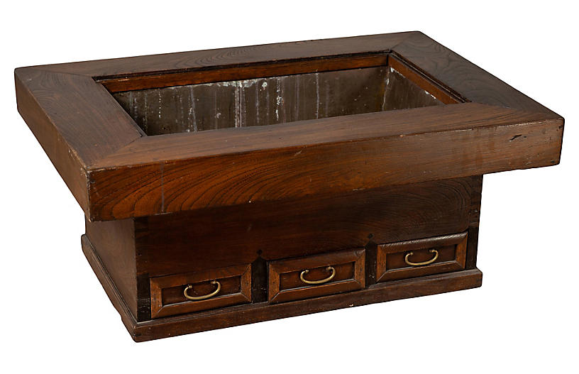 Antique Japanese Wood and Metal Hibachi
