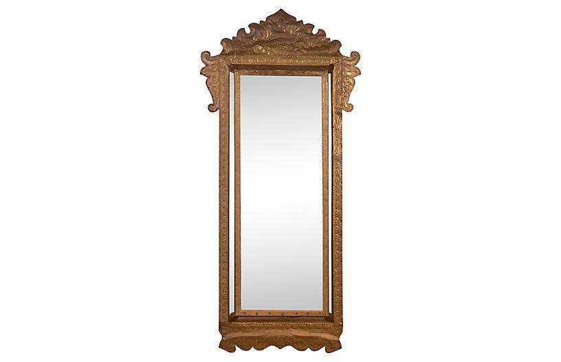 Repoussé Brass Parclose Crested Mirror