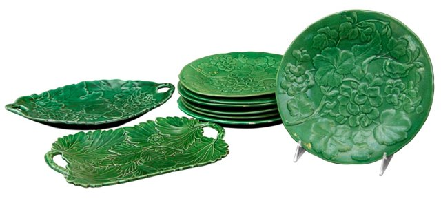 19th-C. Majolica Plates & Platters, S/9