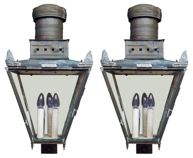 19th-C. Copper Lanterns, Pair