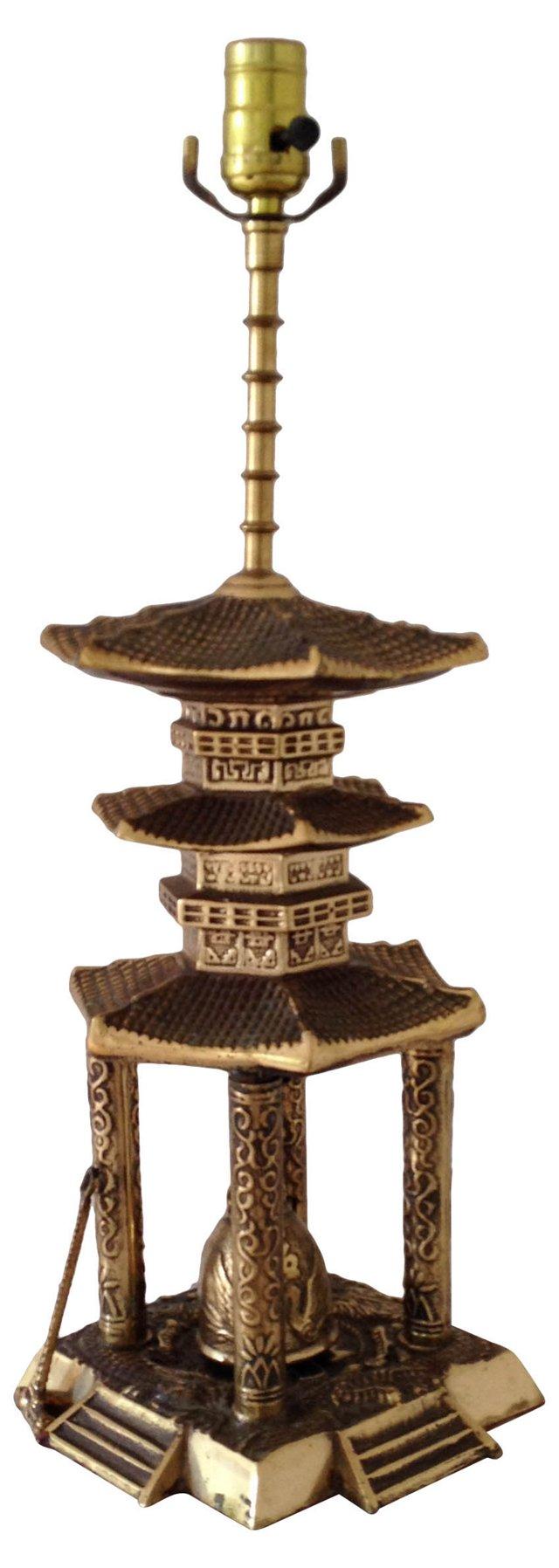 1950s Brass Pagoda Lamp