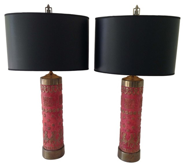 1940s Balinese-Style Lamps, Pair