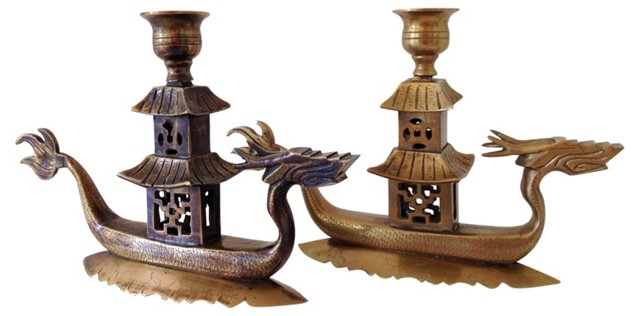 Brass Chinoiserie Candleholders, Pair