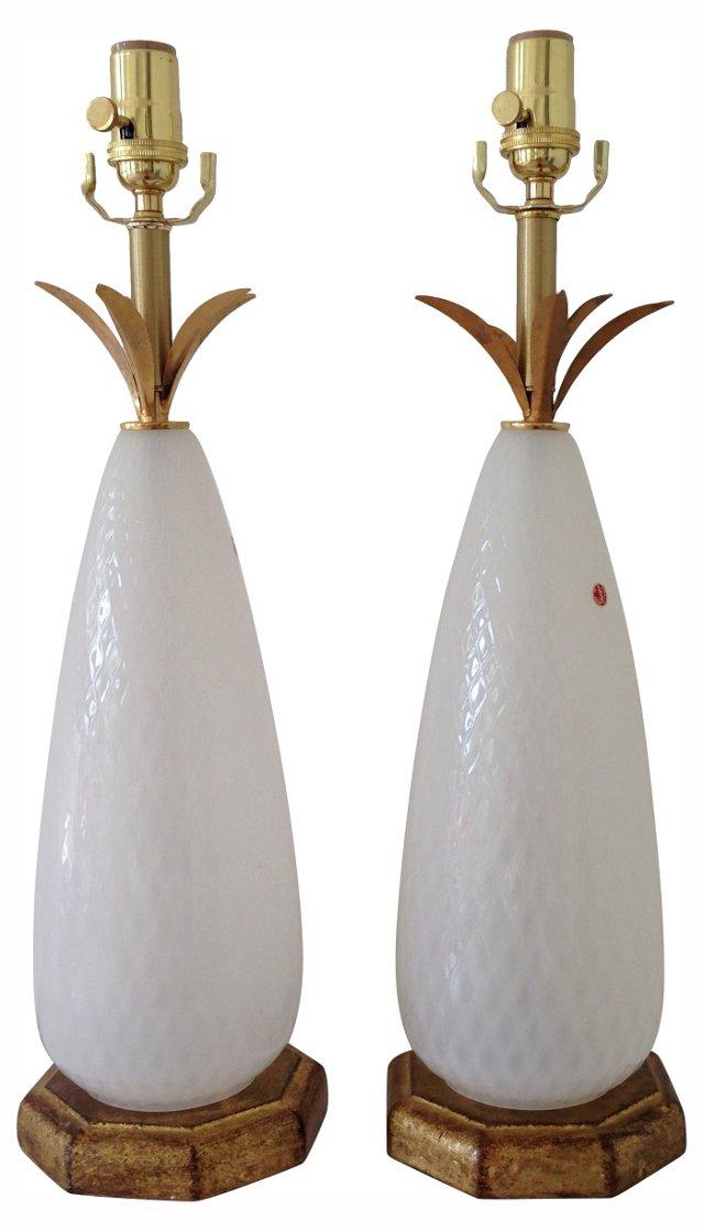 1950s Murano Glass Lamps, Pair