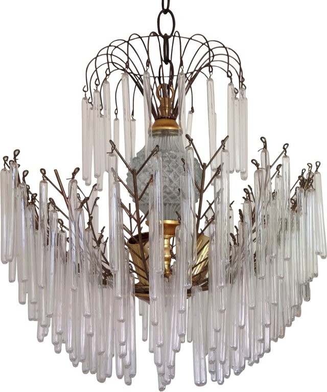Crystal & Glass Rods Chandelier