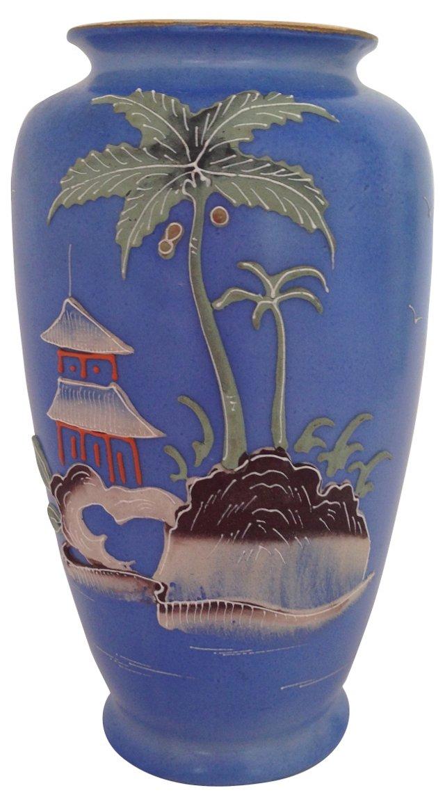 Blue Hand-Painted Pagoda Vase