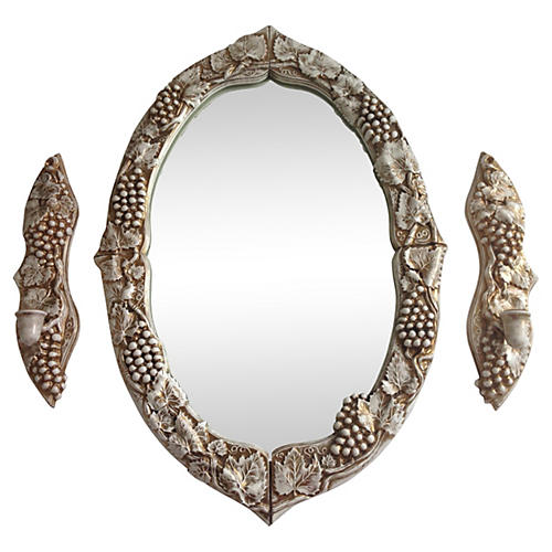 Gilded Ceramic Mirror & Sconces, 3 Pcs