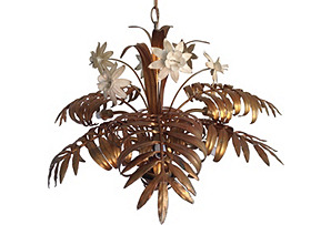Italian Gilt Palm & Lily Chandelier