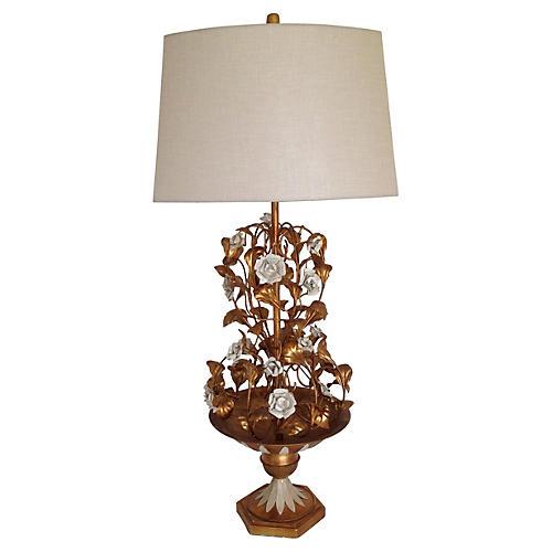 Italian Floral Urn Lamp w/ Shade