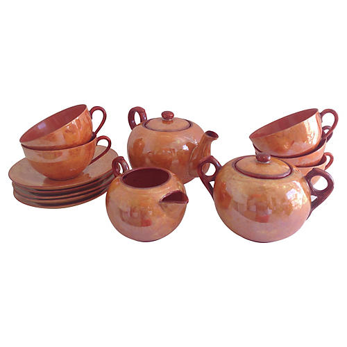 Lusterware Tea Set, Svc. for 5, 15-Pcs