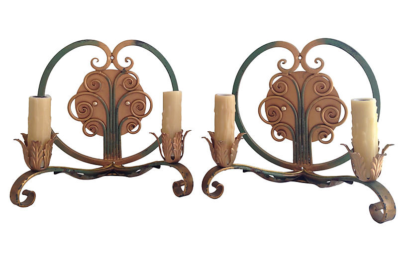 French Two-Arm Sconces, Pair