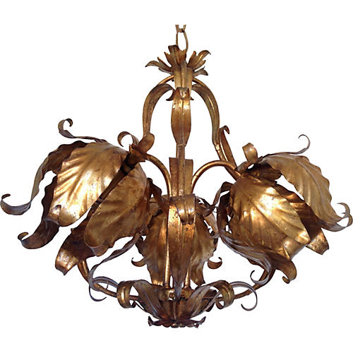 Italian Gilt Tulips Chandelier