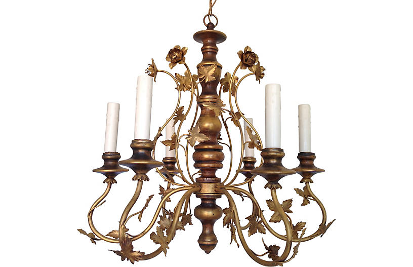 Italian Wood & Iron Chandelier