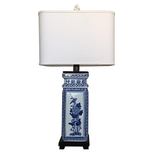 Blue & White Porcelain Lamp w/ Shade