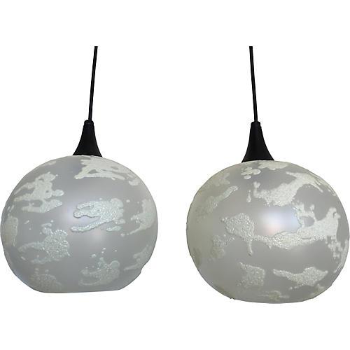 Midcentury Globe Pendants, Pair