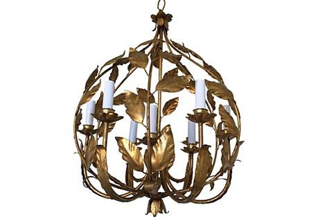 Italian Gilt Globe Chandelier