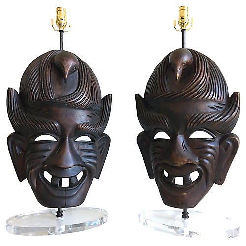African Mask Lamps, Pair