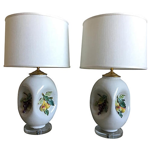 Italian Majolica Lamps w/Shades, Pair