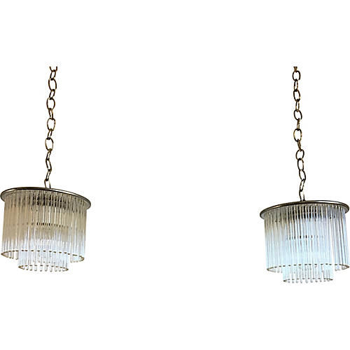 Lightolier Pendant Lights, Pair