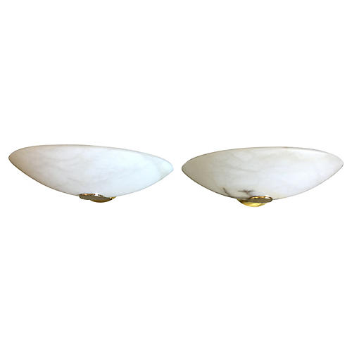 Lightolier Alabaster Sconces, Pair