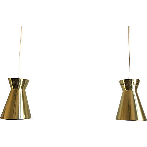 Lightolier Cone Pendant Lights, Pair