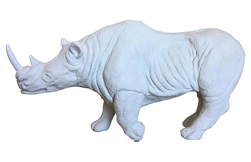 1970s Plaster Rhino Model