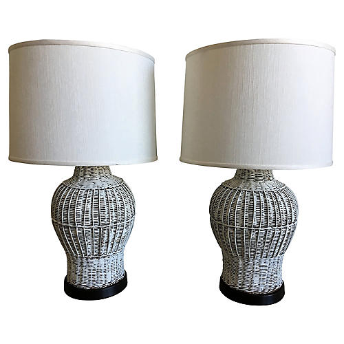 Wicker Ginger Jar Lamps, Pair