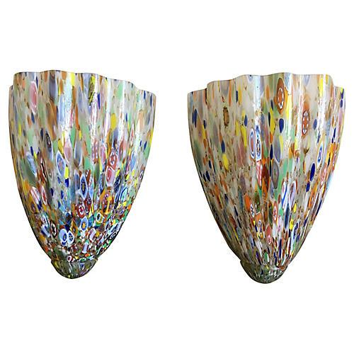 Venetian Glass Sconces, Pair