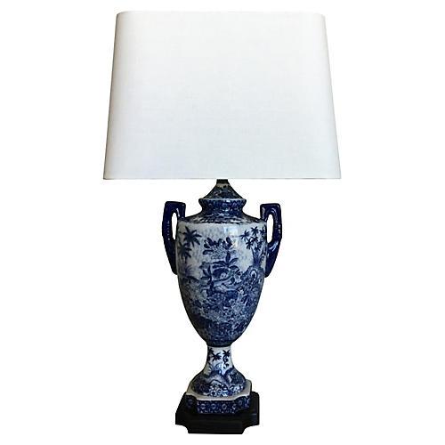 Blue & White Porcelain Urn Lamp w/ Shade