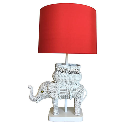 Hanson Wicker Elephant Lamp w/Shade