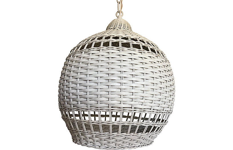 Wicker Ginger Jar Pendant Light