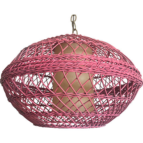 Pink Wicker Pendant Light