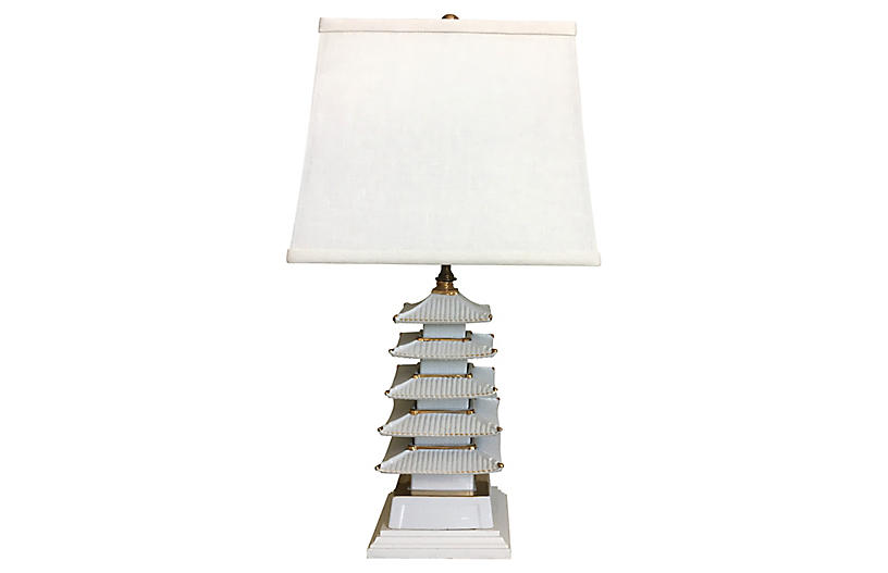 Porcelain Pagoda Lamp & Shade